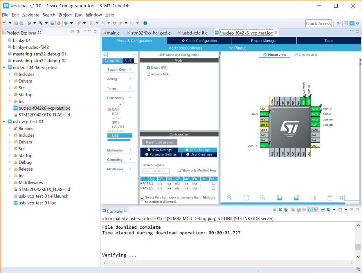 Getting Started with STM32 Nucleo USB (Virtual Com Port